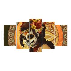 Tattoo Skull Woman Canvas Print Gift 5 Panels