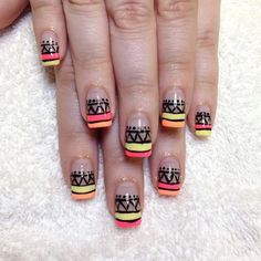 We're majorly crushing over this nail art from @leahsnail. You can achieve this look with RCM's Black Stretch Limo, Pineapple Premiere, Star Power, and Tangerine On The Rocks. #RCMNailIt #RCMPhotoADay