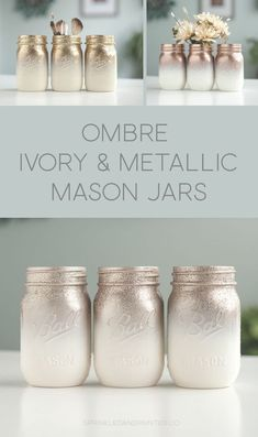 Metallic rose gold, gold, rose chrome and ivory mason jars ombre painted with a splash of glitter. diy mason jars Glitter & Painted Mason Jar Centerpieces & Home Decor by SprinkledandPainted Mason Jar Projects, Mason Jar Crafts, Mason Jar Diy, Crafts With Jars, Gold Mason Jars, Glitter Paint Mason Jars, Painted Mason Jars, Mason Jar Painting, Glitter Wine