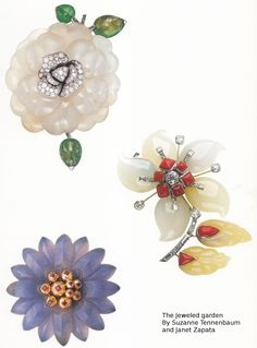 A fantastic collection of Belperron  hardstone and gem-set flower brooches  These are the real thing!