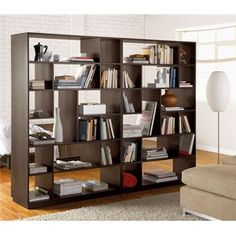 Dark Brown Room Divider With Books