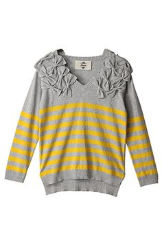 ~gray and yellow striped sweater with bows on the shoulders~