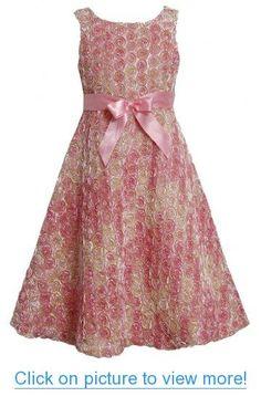 Bonnie Jean Girls Pink Ombre Metallic Bonaz Rosette A-Line Taffeta Dress Tea Length Dresses, Short Dresses, Girls Dresses, Flower Girl Dresses, Summer Dresses, Girls Party Dress, Baby Dress, Bonnie Jean, Taffeta Dress