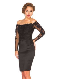 Off the Shoulder Sheath/Column Lace Embroidery Long Sleeves Satin Evening Dress PromEver
