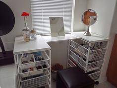 Furniture: Enchanting U-shaped Diy Makeup Vanity Table Featuring Double Side Guide Railed Pull Out Storage Metal Bins With Upper Mini Makeup Mirror And Black Leather Ottoman Stool - DIY Makeup Vanity to Make You Feel and Look Good Vanity Shelves, Ikea Shelves, Vanity Desk, Wood Vanity, Vanity Tables, Closet Vanity, Mirror Vanity, Vanity Room, Diy Makeup Vanity Table