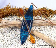 Kayak Suncatcher  Blue Stained Glass  by LakeSideStainedGlass, $22.00