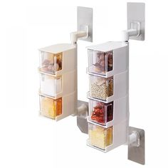 Discount This Month Seasoning Storage Boxes Spice Jar Kitchen Condiment Box Spices Storager Wall Hanging Rotating Kitchen Organization Tools Kitchen Wall Units, Kitchen Box, Buy Kitchen, Kitchen Handles, Food Storage Boxes, Glass Storage Jars, Jar Storage, Tool Organization, Kitchen Organization