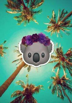 Tropical Koala With Headband Wallpaper Emoji Lovely Cute ^.^ Kawaii