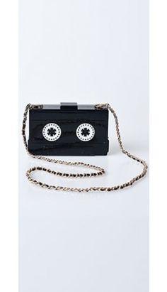 Black Tape Cassette Box Clutch