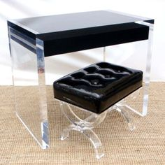 Patent Leather and Acrylic Ottoman and Acrylic Desk with black Drawer from Aaron R Thomas