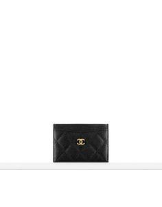 chanel card holder // grained calfskin & gold metal-black & burgundy
