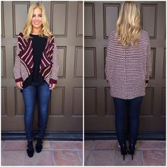 Naya Soft Knit Cardigan - BURGUNDY & IVORY  Get warmed up in this cute cardigan! Style this mixed pattern knit cardigan with skinnies and your favorite pair of boots for a casual and fall ready look. This cardigan features a soft knit feel, loose fit, cascading front collar, and black faux leather trim at the hem of the cardigan.
