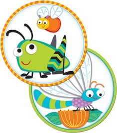 "Accent your classroom with these colorful and irresistible ""Buggy"" for Bugs two-sided decorations. Make your students ""buggy"" for learning! Two-Sided Decorations can also be used to accent bulletin boards or label learning centers! These sturdy, colorful designs are printed on the front and back.  Each decoration is 15"" x 15"" and features a drilled hole for easy hanging. Look for coordinating products in this character theme and a full assortment of coordinating color-palette  designs to ..."