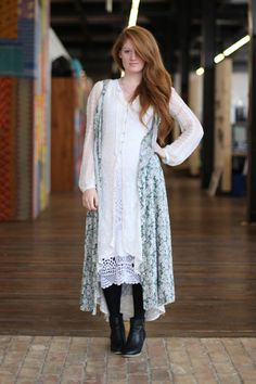 Free People Office Style: Pretty layers and black boots Free People Blog, Office Fashion, Dressmaking, Black Boots, Lace Skirt, Style Me, White Dress, Feminine, Tunic Tops