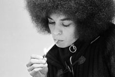 """vintagesalt: """" """"Racism is a much more clandestine, much more hidden kind of phenomenon, but at the same time it's perhaps far more terrible than it's ever been."""" - Angela Davis photographed by Sal. Angela Davis, Fight The Power, Black Panther Party, Civil Rights Activists, Civil Rights Movement, Black Families, African American History, Cultura Pop, Black Power"""