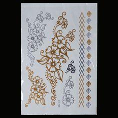 Silver Metallic Temporary Fowers Tattoo Body Henna Transfer Sticker Gold Sticker