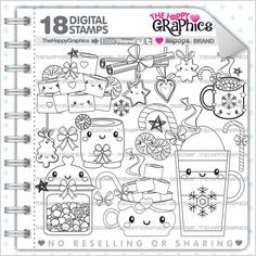 Celebration Stamp 80OFF COMMERCIAL USE Digi Digital Image Party Digistamp New Year Coloring Page Graphic Christmas
