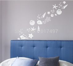 Beach themed room decor - Set of 30 fancy sea beach shell wall decals , vinyl sea shell wall stickers free shipping N2003