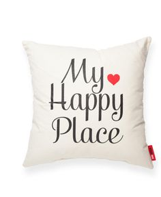 My Happy Place Cream Throw Pillow