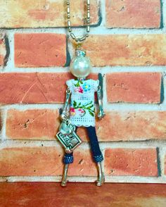 French doll pendant doll necklace 1 teacher Gift for