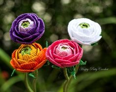 Crochet Pattern: Ranunculus Flower