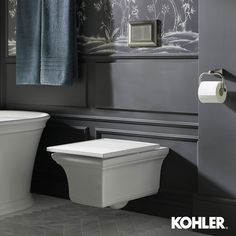 Memoirs® Wall-hung compact elongated dual-flush toilet bowl with slow close seat Upstairs Bathrooms, Master Bathroom, Bathroom Vanity Units, Bathroom Ideas, Kohler Memoirs, Dual Flush Toilet, Wall Mounted Toilet, Toilet Bowl, Classic Elegance