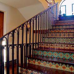 Integrate some Malibu Tile into the floor and backsplash. Malibu Tile Stair - mediterranean - staircase - santa barbara - by Maraya Interior Design Tiled Staircase, Tile Stairs, Staircase Design, Staircases, Spanish Style Homes, Spanish House, Spanish Revival, Style Hacienda, Windows