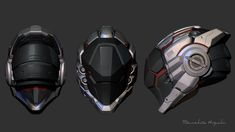 Hard surface modeling in Zbrush - WIP , Masahito Higuchi on ArtStation Robot Design, Helmet Design, Mask Design, Futuristic Helmet, Futuristic Armour, Robot Concept Art, Armor Concept, Zbrush, Character Concept