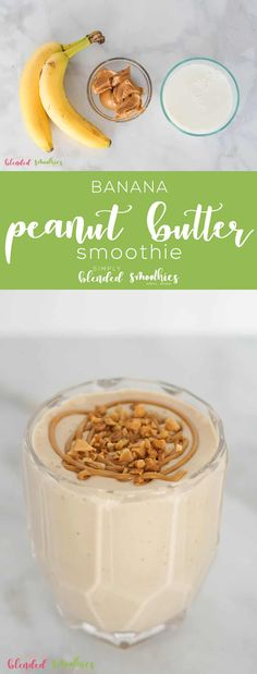 The Best Peanut Butter Banana Smoothie Simply Blended Smoothies Coffee Banana Smoothie, Chocolate Banana Smoothie, Peanut Butter Smoothie, Best Peanut Butter, Strawberry Banana Smoothie, Peanut Butter Recipes, Peanut Butter Banana, Nutter Butter, Easy No Bake Desserts