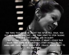 People, Leia did not want to be in that slave outfit. Stop glorifying the bikini and focus on how she KILLED JABBA THE HUTT.