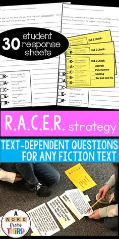 Use this RACER checklist with your students for open ended text dependent questions. They can laminate it and use as a wipe off checklist or staple to finished work to check it over. This comes with 30 student response sheets. Close Reading, Guided Reading, Citing Evidence, Text Dependent Questions, Reading Strategies, High School Students, Literacy Centers, Comprehension, Teaching Resources