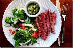 Grilled Flank Steak with Salsa Verde | iowagirleats.com