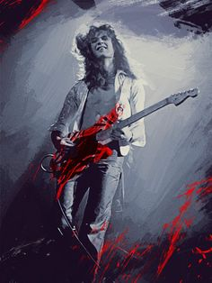 Eddie Van Halen Metal Print by Afterdarkness. All metal prints are professionally printed, packaged, and shipped within 3 - 4 business days and delivered ready-to-hang on your wall. Best Guitarist, Eddie Van Halen, Fender Stratocaster, Thing 1, David Lee Roth, Canvas Prints, Art Prints, Canvas Art, Rock Bands