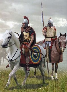 Caballeros del bajo imperio. A la izquierda un sagitario o arquero a caballo. El de la derecha parece un clibanario. Más en www.elgrancapitan.org/foro