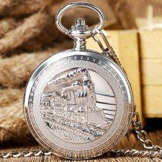 Silver Retro Train Locomotive Engine Design Pocket Watch Mechanical Pocket Watch with Double Hunter Women Men P1035C