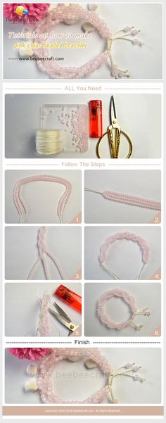 #Beebeecraft #Tutorials on how to make #pink clear #beaded #bracelet