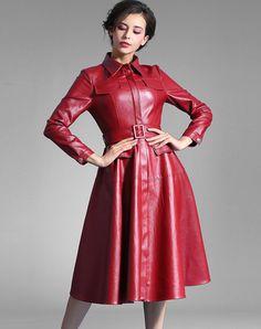 #AdoreWe #BAOYAN BAOYAN Wine PU Stand Collor Pleated Dress Coat - AdoreWe.com