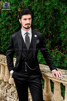 Italian bespoke wedding suit, black satin, style 1204 Ottavio Nuccio Gala, 2015 Gentleman collection.