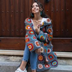 Your place to buy and sell all things handmade, granny square afghan Granny Square Sweater, Sunburst Granny Square, Crochet Granny Square Afghan, Crochet Afghans, Boho Crochet, Crochet Coat, Crochet Clothes, Crochet Fashion, Poncho Style