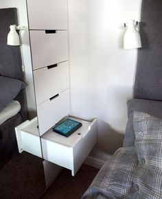 Built-in PAX wardrobe with drawer nightstand