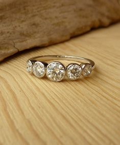 5 Stone Bezel Set Diamond Band by kateszabone on Etsy