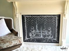 old painted fireplace mantel pictures | ... paint and had my super-talented step-dad help draw a fireplace chalk