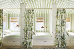 thornton naples guest quarters Cabana, Foyer Wallpaper, Fabric Wallpaper, Veranda Magazine, Bunk Rooms, Bunk Beds, Twin Beds, Attic Rooms, White Sofas