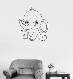 Vinyl Decal Baby Elephant Cute Animal Children Room Wall Stickers (ig232)  sc 1 st  Pinterest & Take a look at this Baby Elephant Reusable Wall Decal on zulily ...