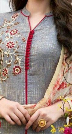 Style Heave: Neck Design For Women Charmed Dress Up Chudi Neck Designs, Neck Designs For Suits, Neckline Designs, Dress Neck Designs, Sleeve Designs, Churidar Neck Designs, Kurta Neck Design, Salwar Designs, Salwar Pattern
