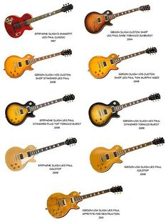 Slash Paradise - This is a page about the guitars Slash uses live and in studio, almost exclusively Gibson instuments: Les Paul replica, Standard, Goldtop, Signature or B. Ukulele, Guitar Rig, Music Guitar, Cool Guitar, Playing Guitar, Les Paul Guitars, Fender Guitars, Acoustic Guitars, Steve Vai