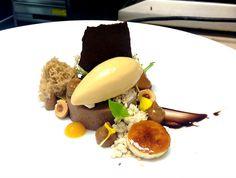 Antonio Bachour : Chocolate Hazelnut Soft Ganache, Salted Caramel Ice Cream, Dulce de Leche, Brulee Banana, Dulce de Leche Powder, Chocolate Streusel, Hazelnut Microwave Sponge Cake.