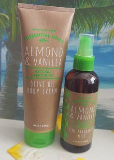 bath and body works almond & vanilla olive oil body cream fine fragrance mist