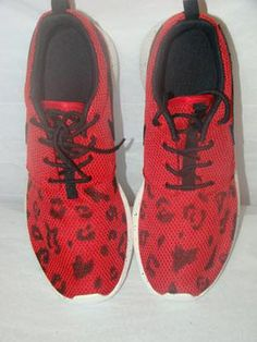 0c9bf5677d86 Custom Nike Roshe Run- Red Nike Roshe with Cheetah Print Women  Men    Juniors