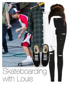 Skateboarding with Louis by style-with-one-direction on Polyvore featuring polyvore, fashion, style, Topshop, Vans, OneDirection, 1d, louistomlinson and louis tomlinson one direction 1d